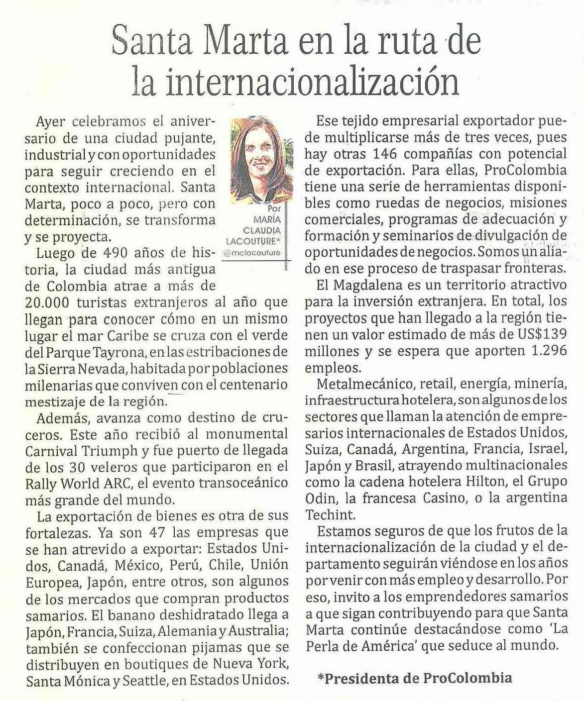 Santa Marta en la ruta de la internacionalización · Diario Hoy de Magdalena