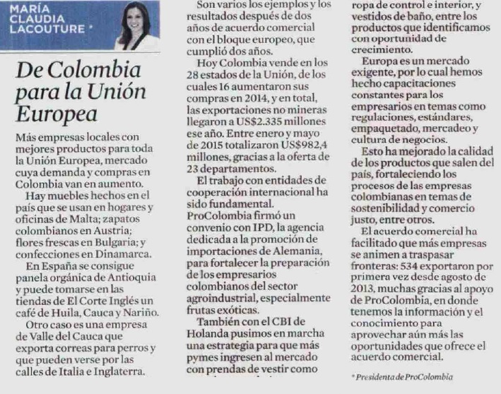 De Colombia para la Unión Europea