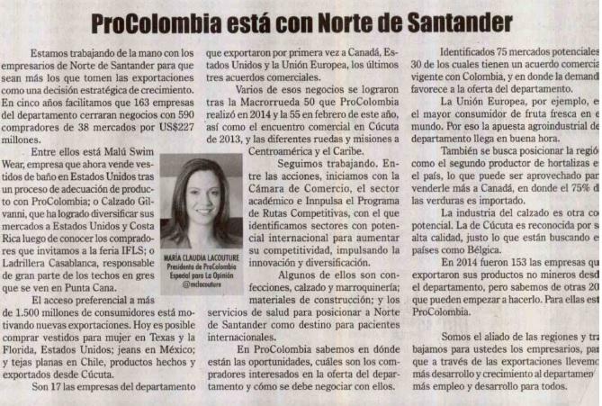ProColombia está con Norte de Santander, columna en La Opinión, 21 de agosto de 2015