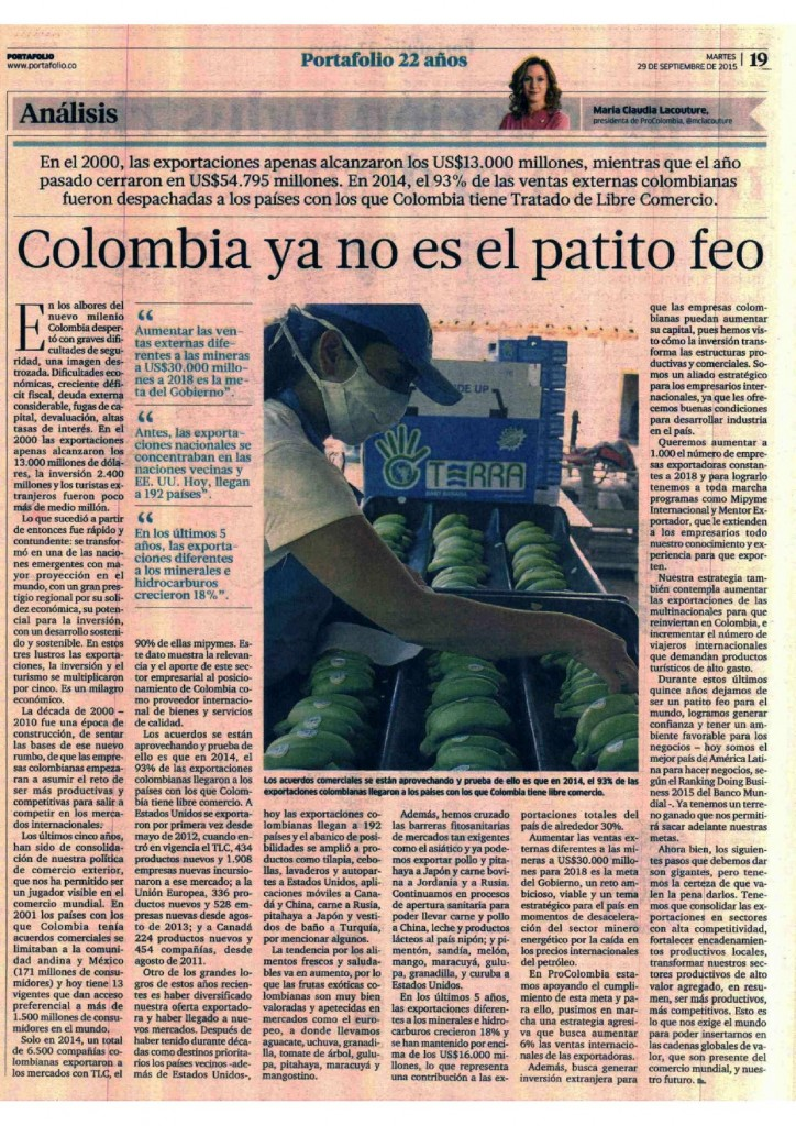 Colombia ya no es el patito feo