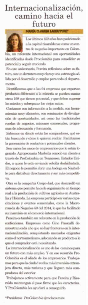 Internacionalización, camino hacia el futuro. Columna en La Tarde, Pereira, 29 de agosto de 2015.