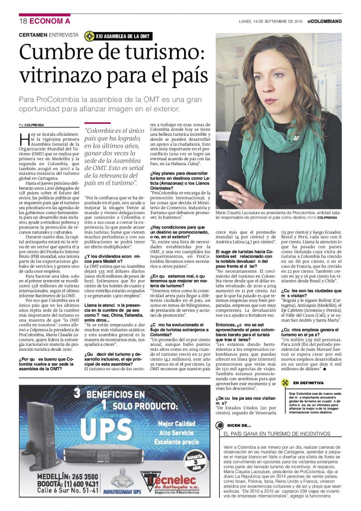 """""""Cumbre de turismo, vitrinazo para el país"""", entrevista de Colprensa en El Colombiano, 14 de septiembre de 2015"""