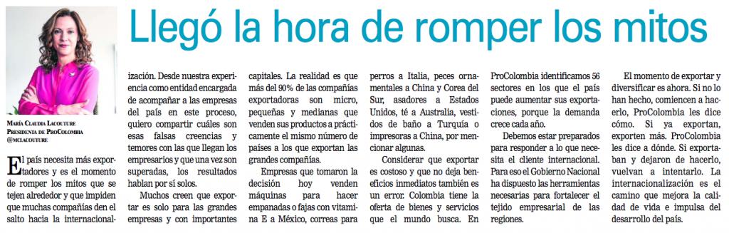 """""""Llegó la hora de romper los mitos"""", columna en Diario Occidente, 8 de septiembre de 2015."""