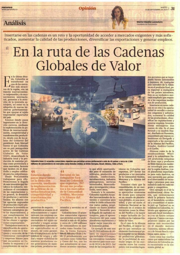 """""""Inserción en cadenas globales de valor"""", columna en Portafolio, 15 de septiembre de 2015"""
