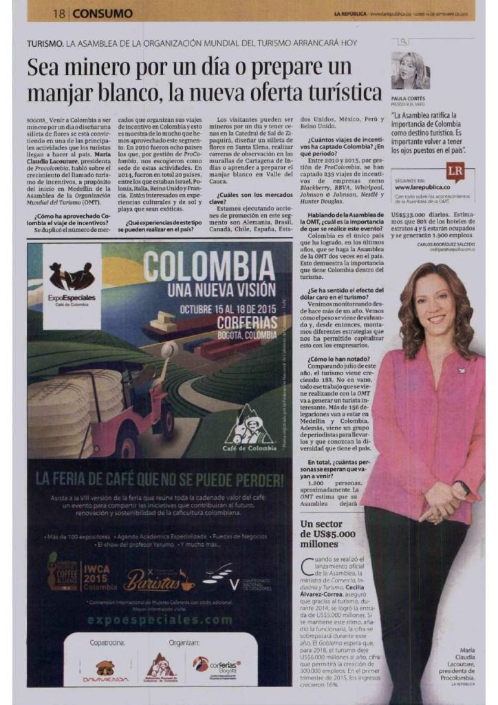 Nuevos productos de la oferta turística colombiana, entrevista con La República, 14 de septiembre de 2015