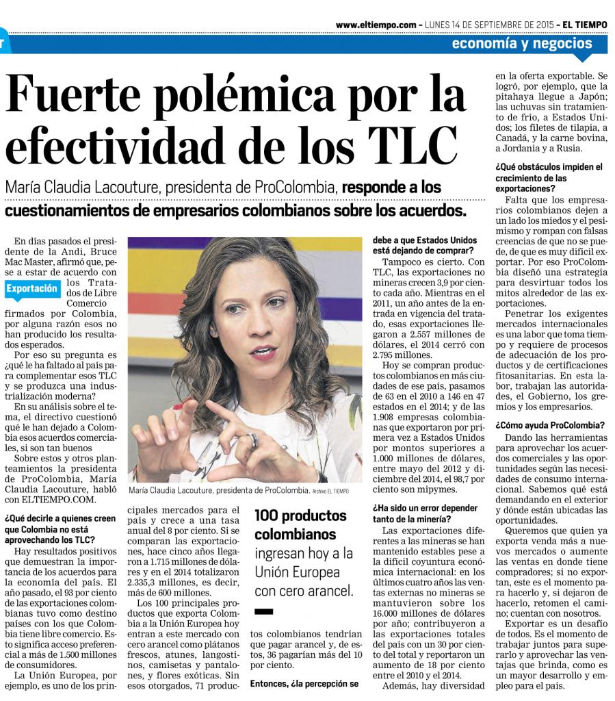 Colombia y los TLC, entrevista Diario El Tiempo, 14 de septiembre de 2015
