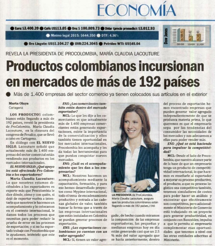 Productos colombianos incursionan en mercados de más de 192 países, entrevista con El Nuevo Siglo, 12 de septiembre de 2015