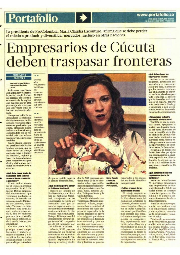 Empresarios de Cucuta deben traspasar fronteras