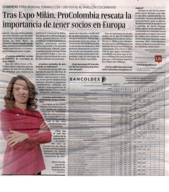 """""""ExpoMilán, plataforma de negocios para Colombia"""", entrevista en La República, 30 de octubre de 2015"""