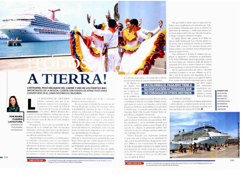 ¡A tierra!, artículo para la revista Pórtico de la Sociedad Portuaria de Cartagena, 11 de octubre de 2015