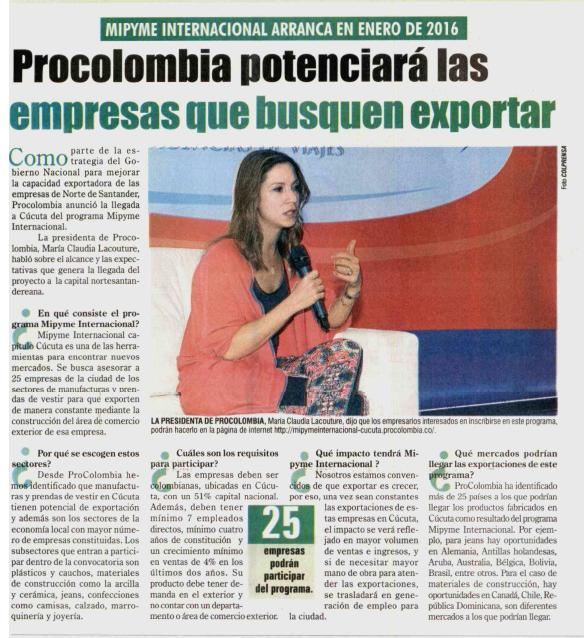 ProColombia potenciará empresas de Norte de Santander que busquen exportar