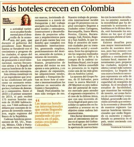 Más hoteles crecen en Colombia
