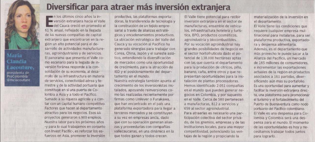 Diversificar para incrementar atracción de inversión extranjera
