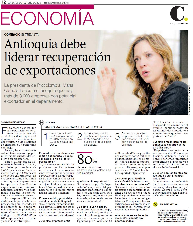 Antioquia a jalonar las exportaciones