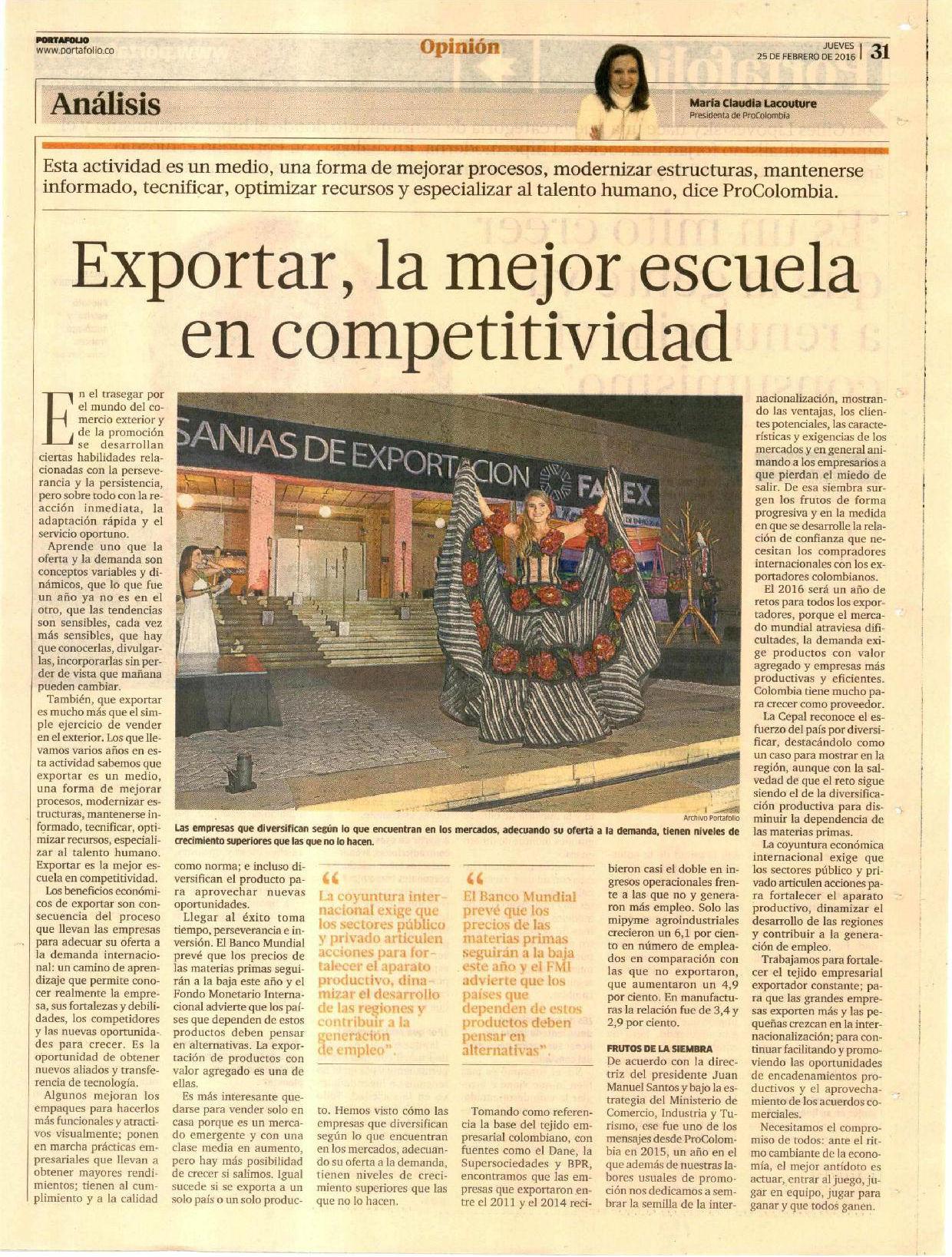 Exportar la mejor escuela en competitividad
