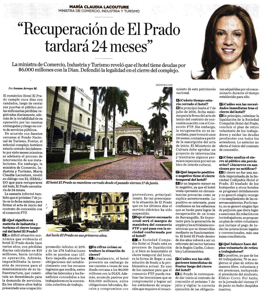 Recuperación de El Prado tomará 24 meses