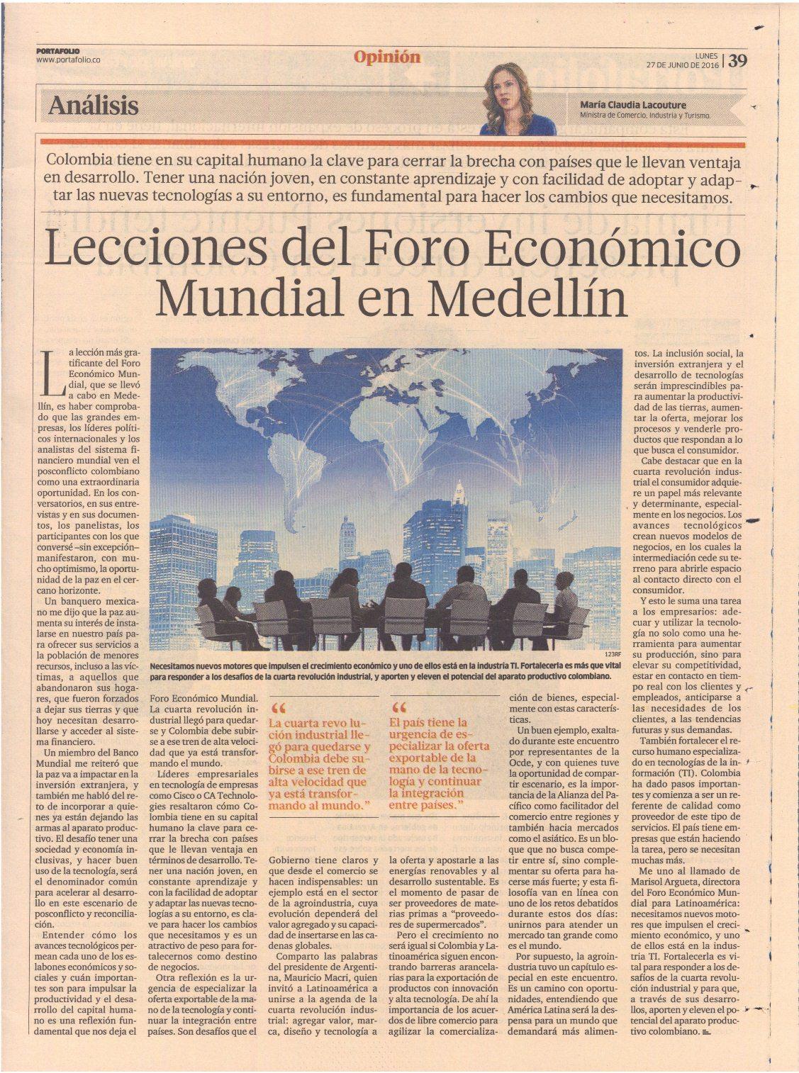 Lecciones del Foro Económico Mundial en Medellín