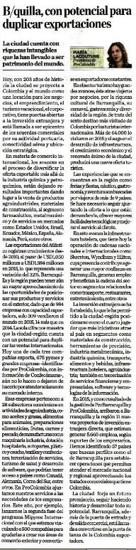 Barranquilla, con potencial para duplicar exportaciones