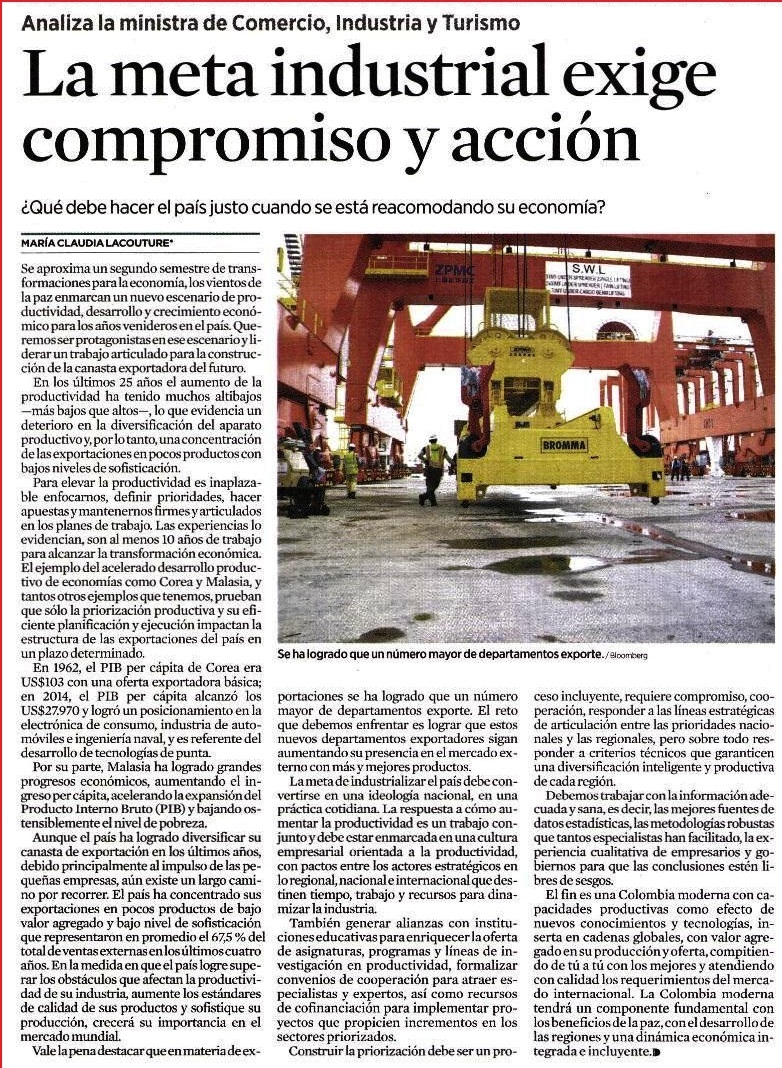 La meta industrial exige compromiso y acción