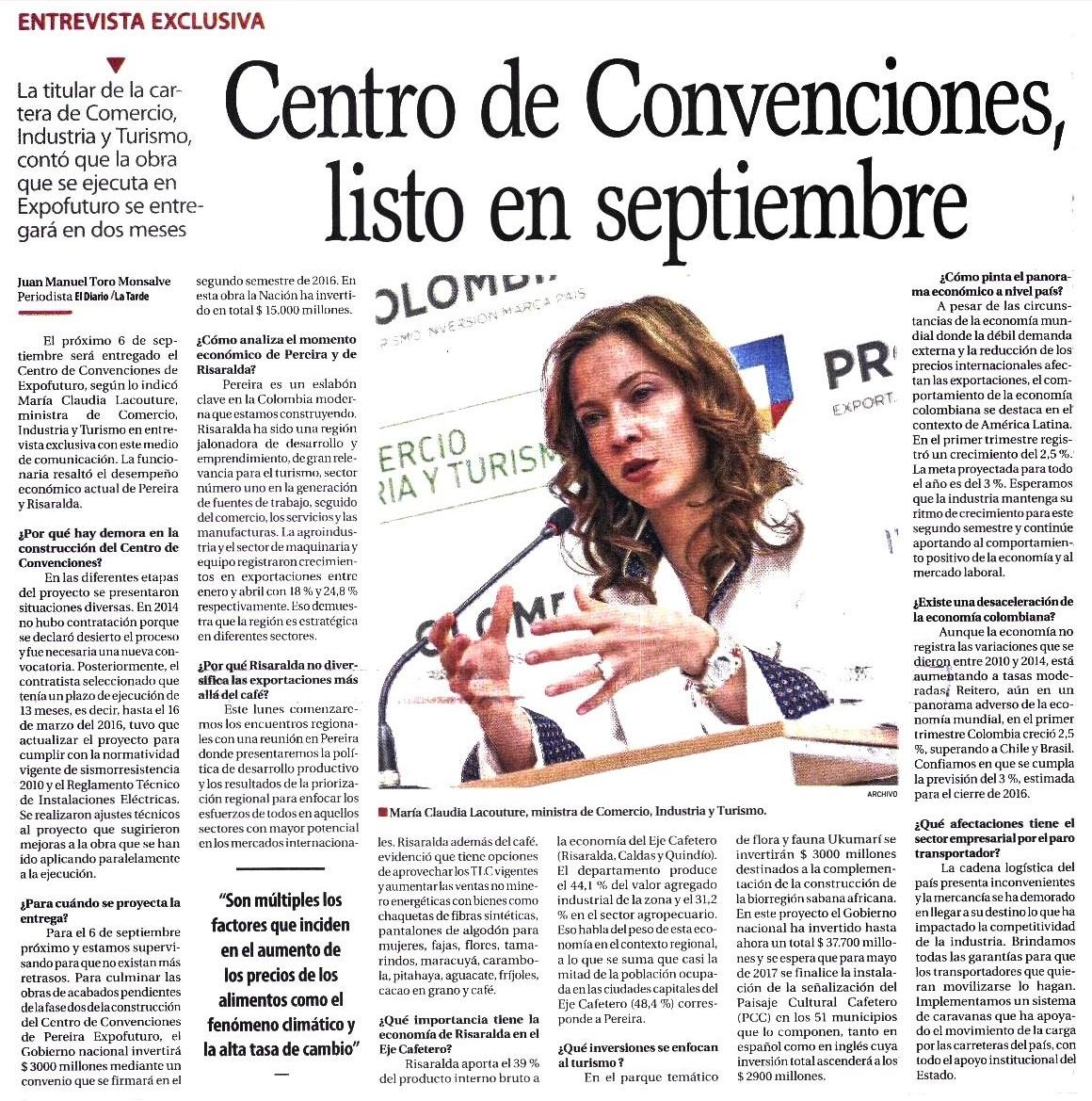 Centro de Convenciones, listo en septiembre